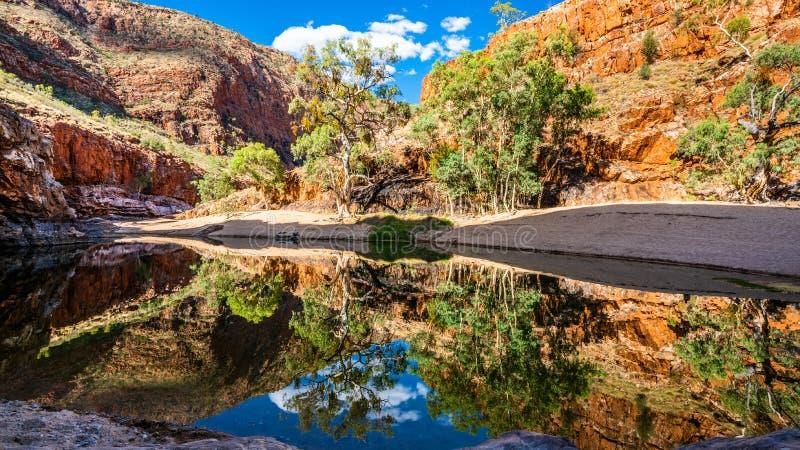 Ideia cênico do furo de água do desfiladeiro de Ormiston no interior ocidental Austrália das escalas de MacDonnell fotos de stock