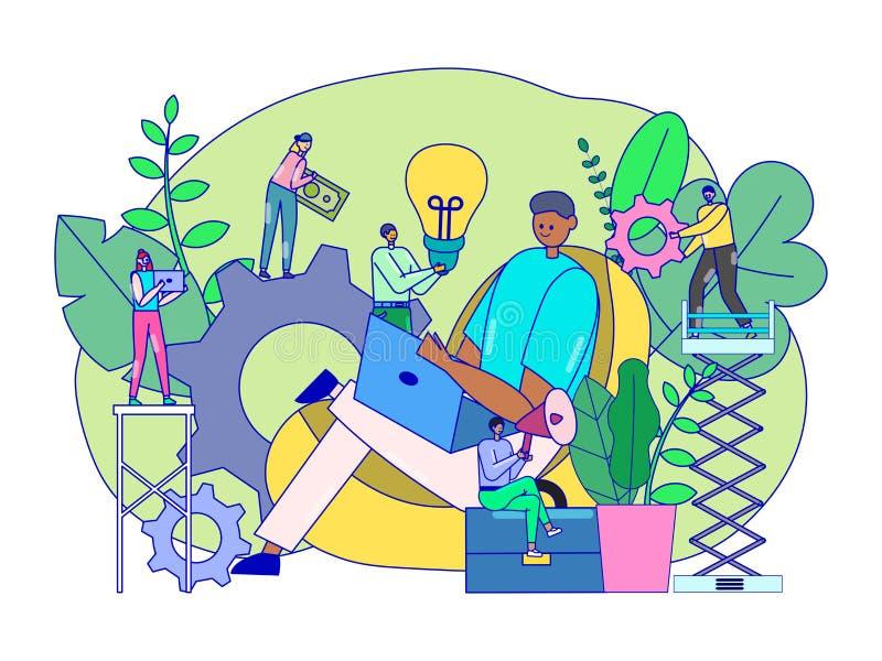 Ideia criativa conceito de brainstorming, minúsculos personagens de desenho animado, ilustração vetorial ilustração royalty free