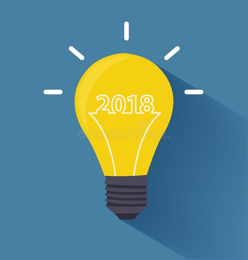 Ideia criativa da ampola com 2018 anos novos ilustração stock