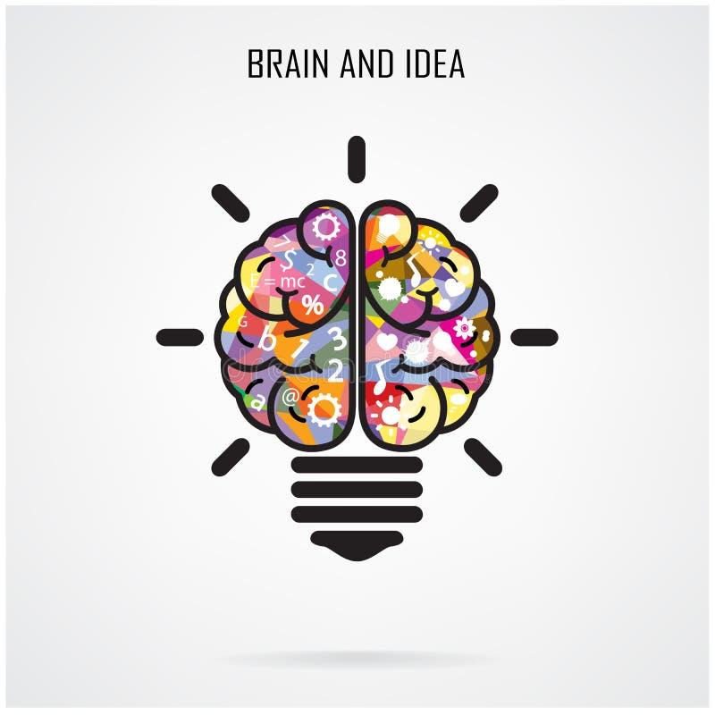 Ideia criativa do cérebro e conceito da ampola, conceito da educação ilustração do vetor