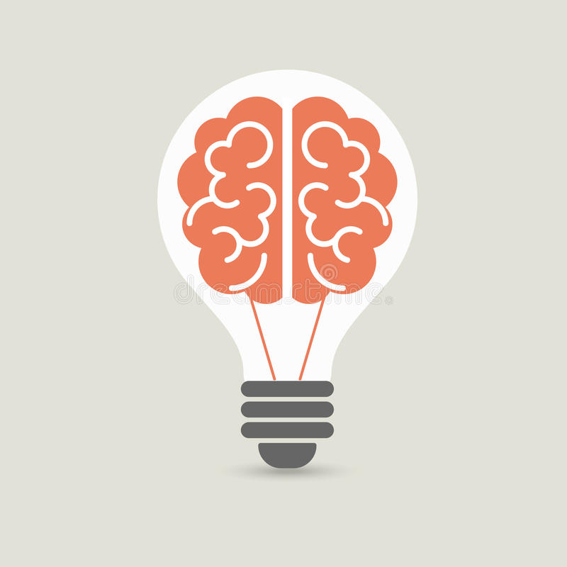 Ideia criativa do cérebro e conceito da ampola, projeto para o folheto da tampa do inseto do cartaz, negócio, educação Vetor imagem de stock royalty free