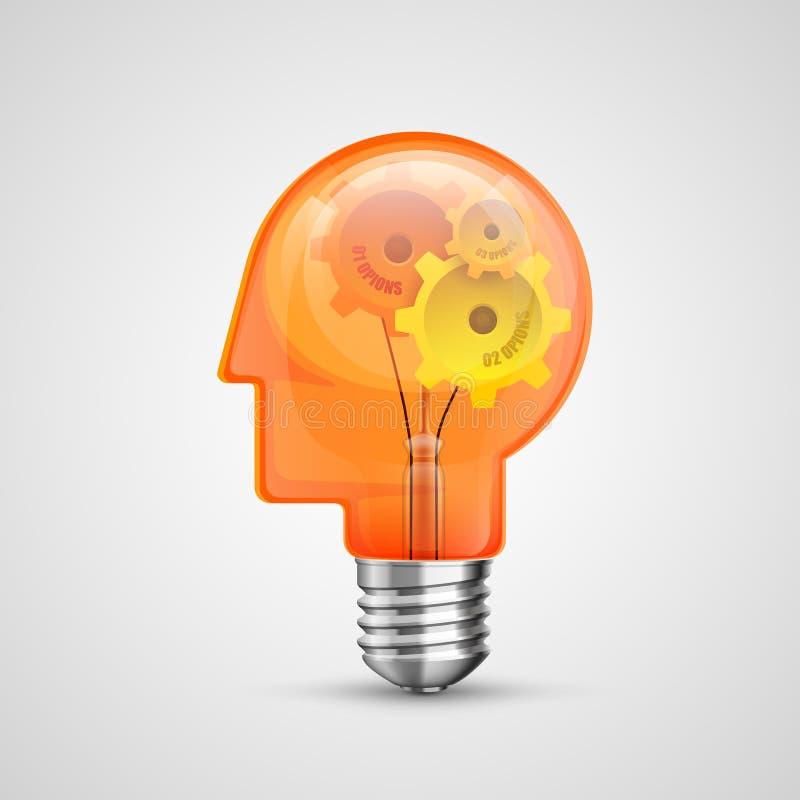Ideia criativa do conceito principal da lâmpada ilustração do vetor