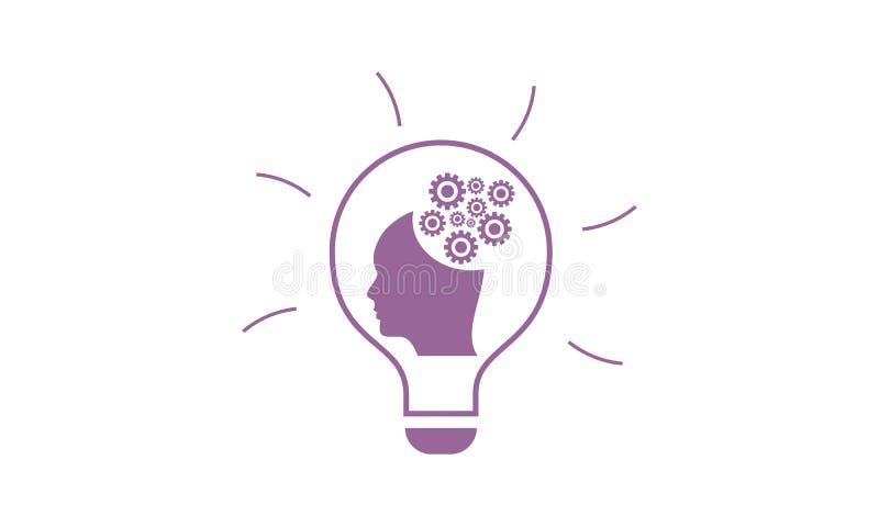 Ideia criativa humana, logotipo do bulbo ilustração royalty free