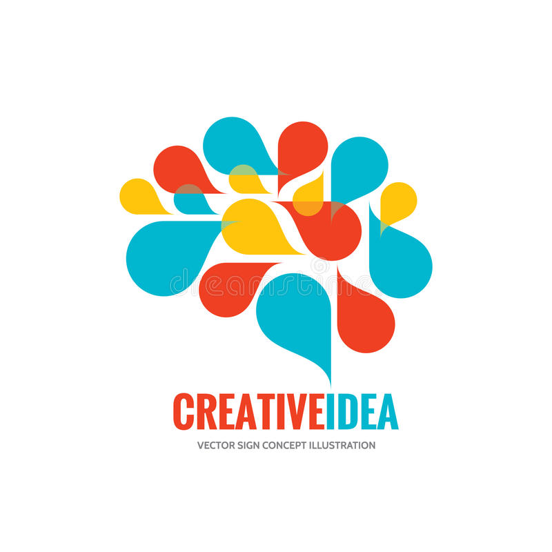 Ideia criativa - ilustração do conceito do molde do logotipo do vetor do negócio Sinal criativo abstrato do cérebro humano Símbol ilustração stock