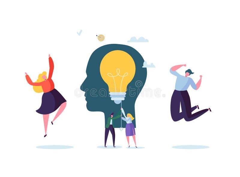 Ideia criativa, imaginação, conceito da inovação com ampola Executivos dos caráteres que trabalham junto no projeto ilustração royalty free