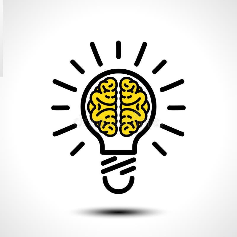 Ideia da ampola com molde do logotipo do vetor do cérebro Ícone incorporado tal como o logotype ilustração do vetor