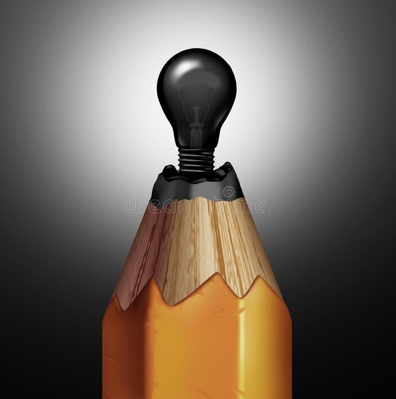 Ideia da ampola do lápis ilustração stock