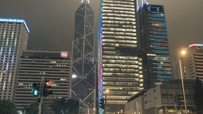 Ideia da arquitetura moderna de Hong Kong estoque Vista surpreendente da cidade de Hong Kong na noite imagem de stock royalty free