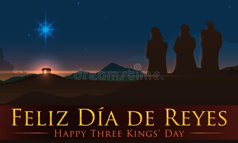 Ideia da beleza do lugar de nascimento com três Reis Magos, ilustração do ` de Jesus do vetor ilustração do vetor