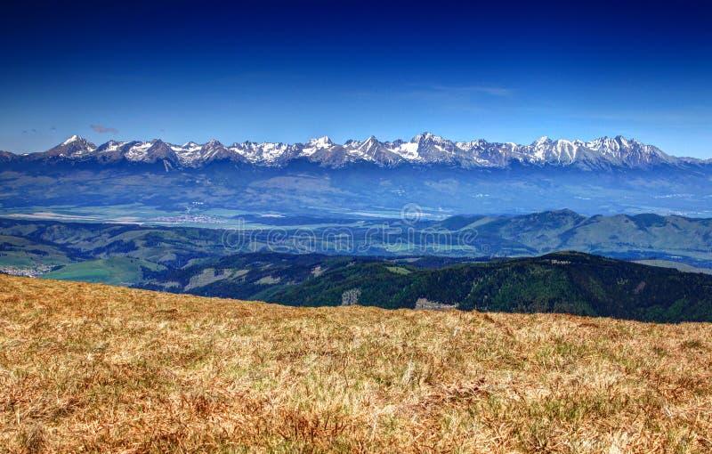Ideia da escala alta inteira com picos nevado, Eslováquia de Tatras fotos de stock royalty free