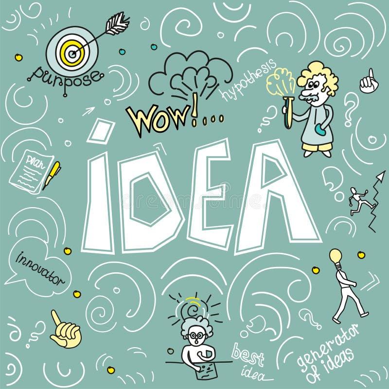 Ideia da ilustração do vetor, tecnologia, ciência para bandeiras da Web e materiais impressos, grandes ideias, planeamento financ ilustração stock