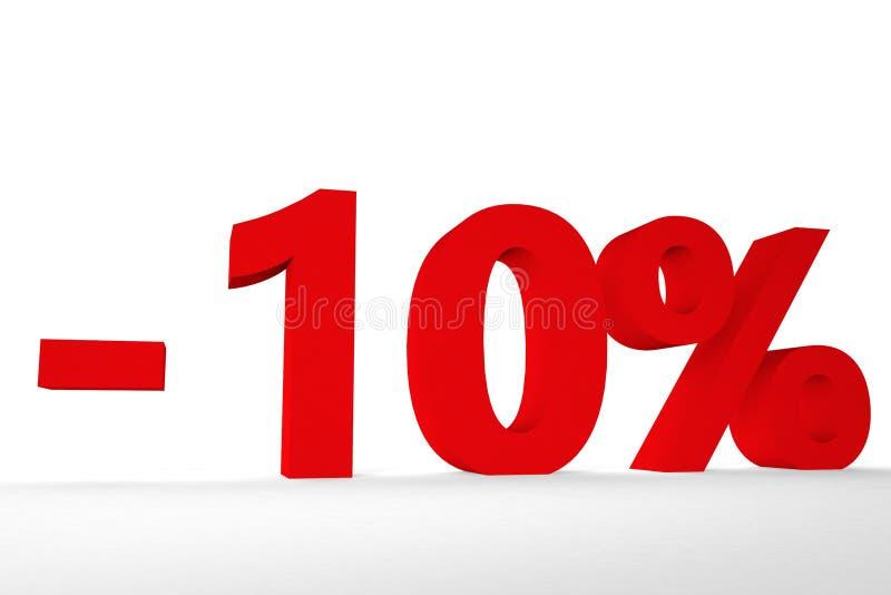 Ideia da inscrição menos dez por cento da ilustração da cor vermelha 3d fotos de stock royalty free