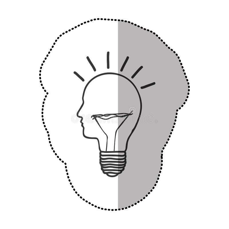 ideia da luz de bulbo da pessoa ilustração do vetor
