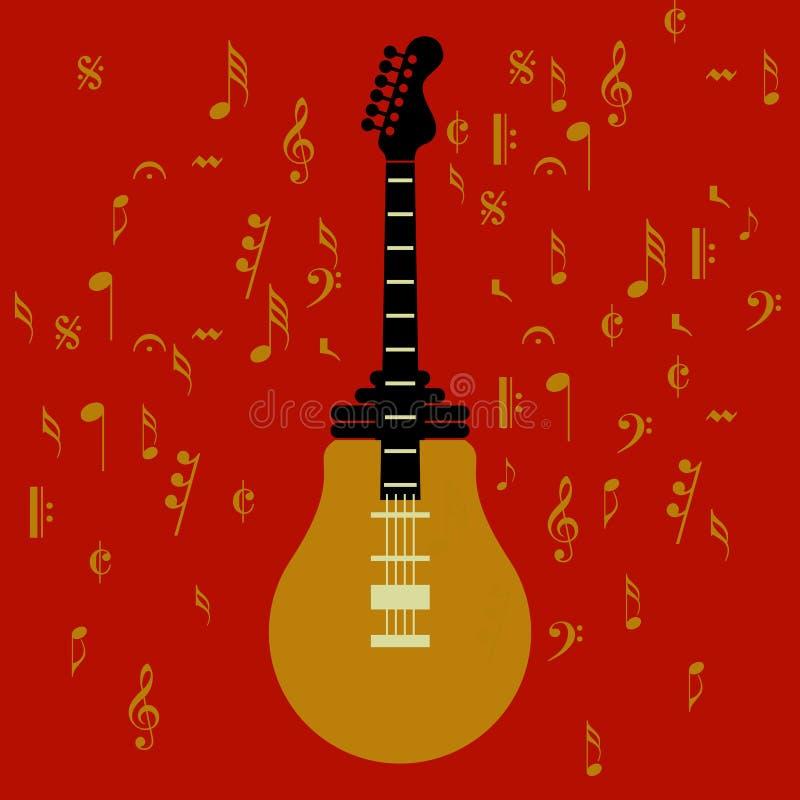 Ideia da música no fundo vermelho ilustração stock