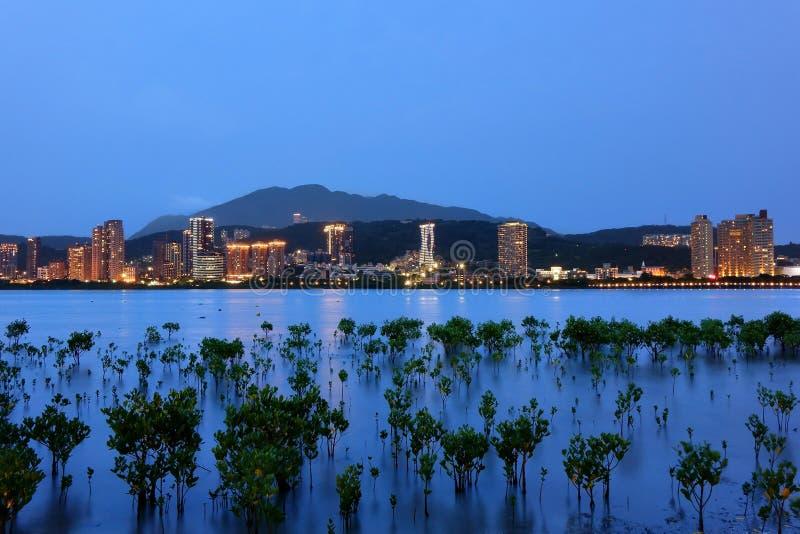 Ideia da noite da arquitetura da cidade de Tamsui no riverbank de Bali foto de stock royalty free