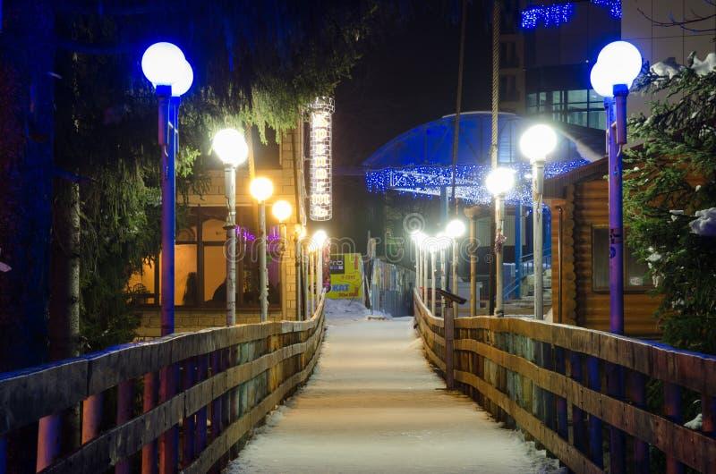 Ideia da noite do inverno que pendura a ponte cabo-ficada sobre o rio Amanauz fotos de stock royalty free