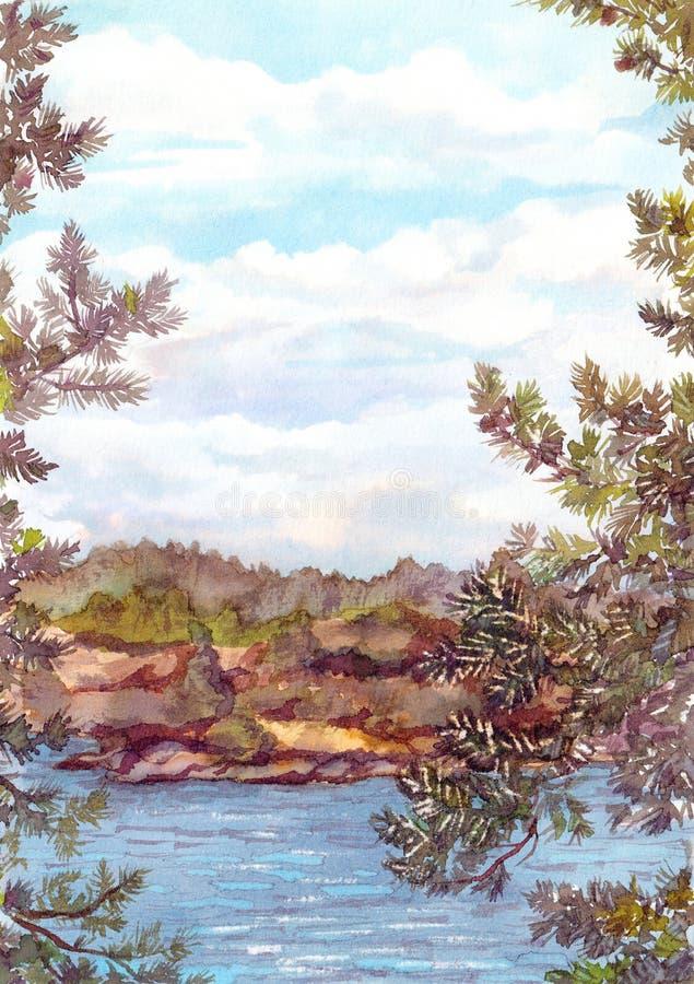 Ideia da paisagem da natureza norte - as rochas suportam, lago e pinheiro ilustração do vetor