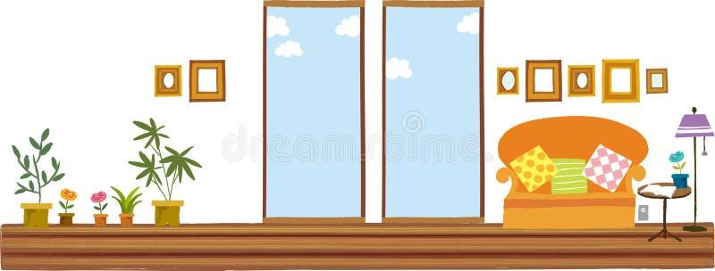 A ideia da paisagem da sala ilustração stock