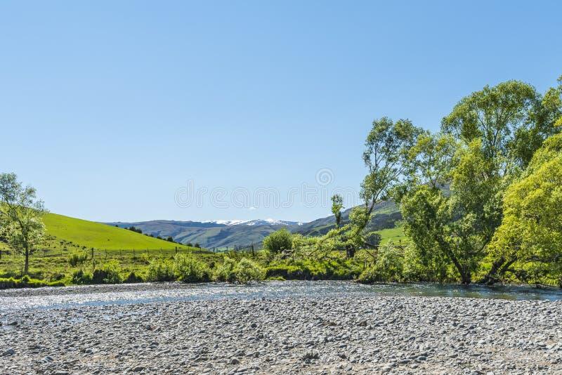 Ideia da paisagem do lago Wakatipu, Queenstown, Nova Zelândia Copie o espa?o para o texto fotografia de stock