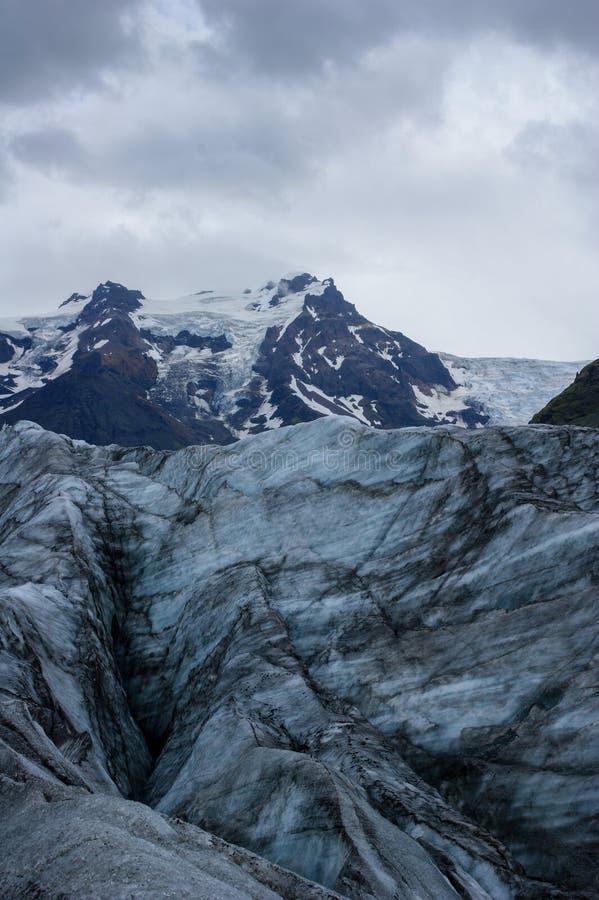 Ideia da paisagem da geleira de Skaftafell, no parque nacional de Vatnajokull em Islândia fotos de stock royalty free