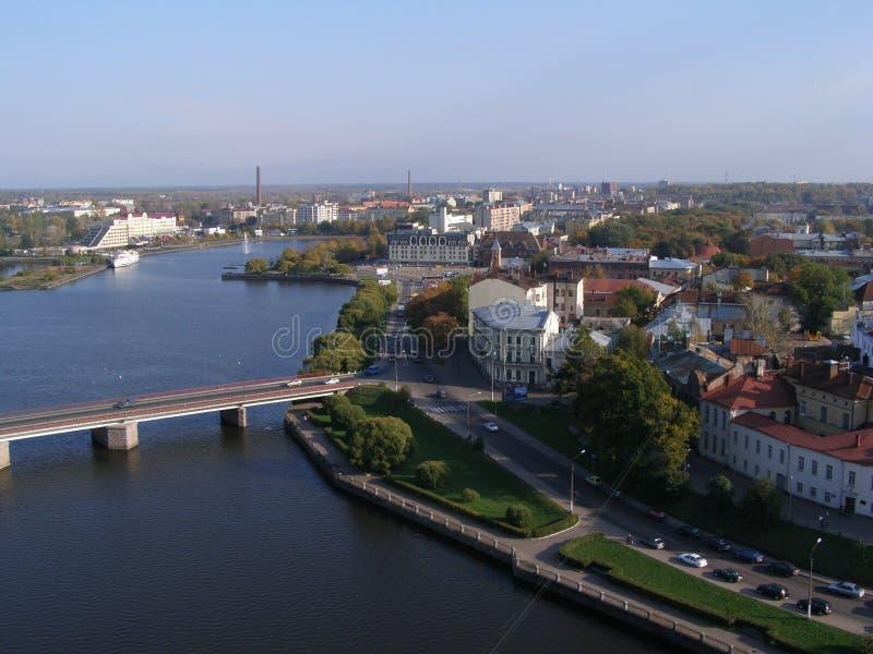 Ideia da parte central de Vyborg da torre de St Olaf Rússia imagem de stock royalty free