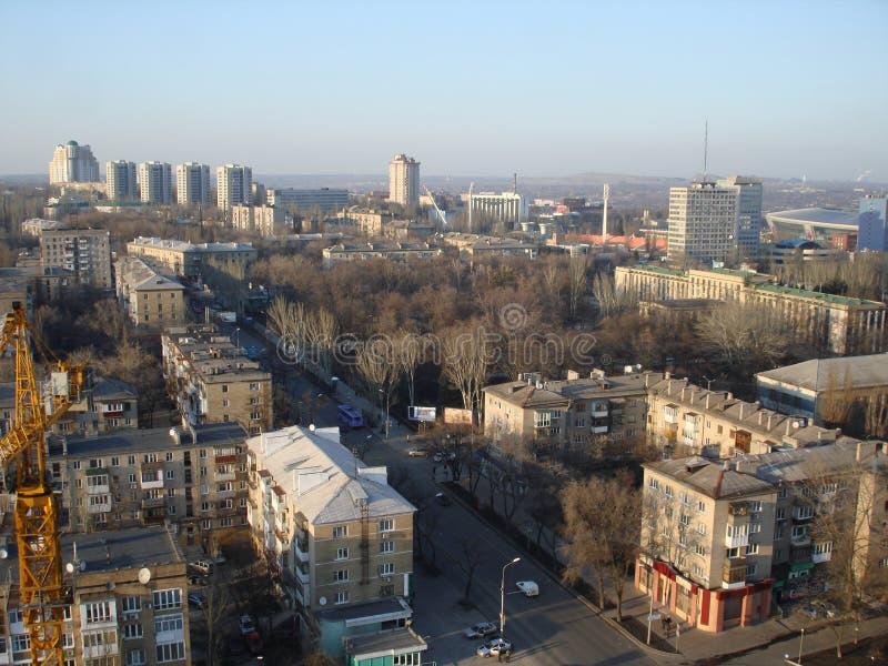 Ideia da parte nortenha de Donetsk com uma vista aérea imagens de stock royalty free