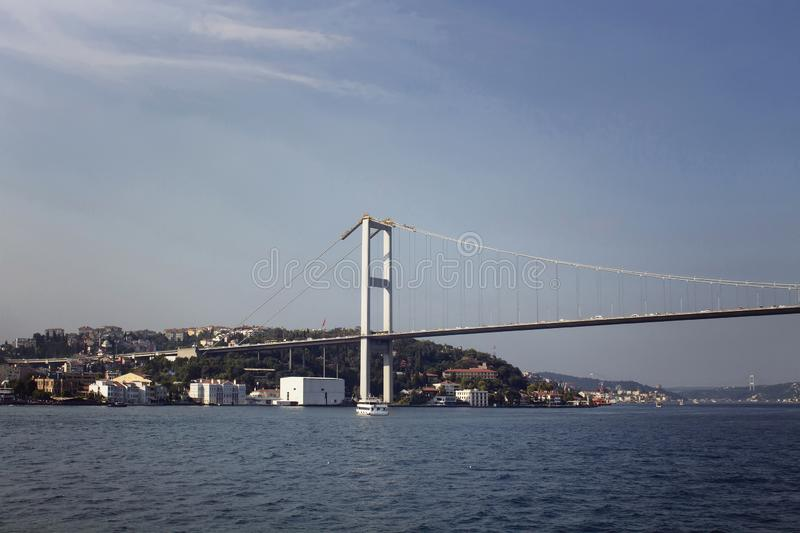 Ideia da ponte de Bosphorus e do lado europeu foto de stock royalty free