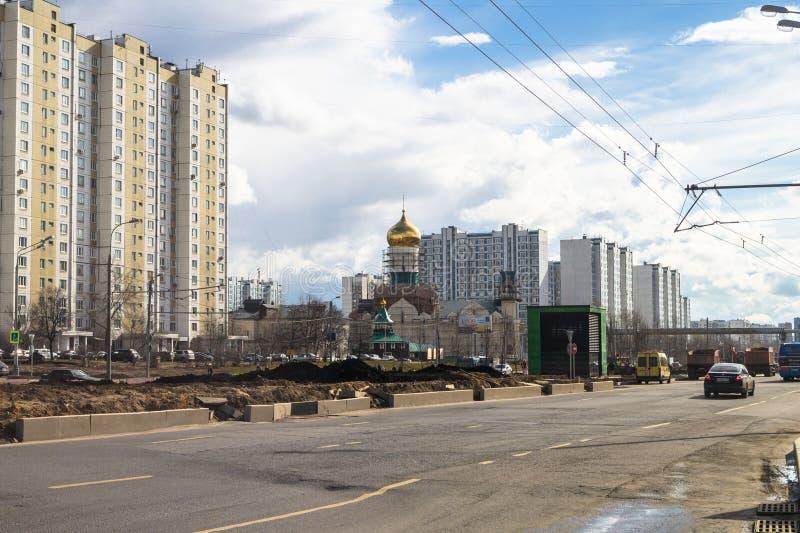 Ideia da reconstrução de Michurinsky Prospekt perto do ` de Ramenki do ` da estação de metro, Moscou imagem de stock royalty free