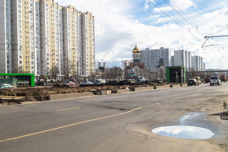 Ideia da reconstrução de Michurinsky Prospekt perto do ` de Ramenki do ` da estação de metro, Moscou foto de stock royalty free