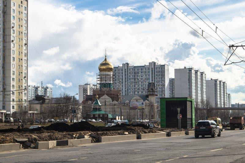 Ideia da reconstrução de Michurinsky Prospekt perto do ` de Ramenki do ` da estação de metro, Moscou fotos de stock royalty free