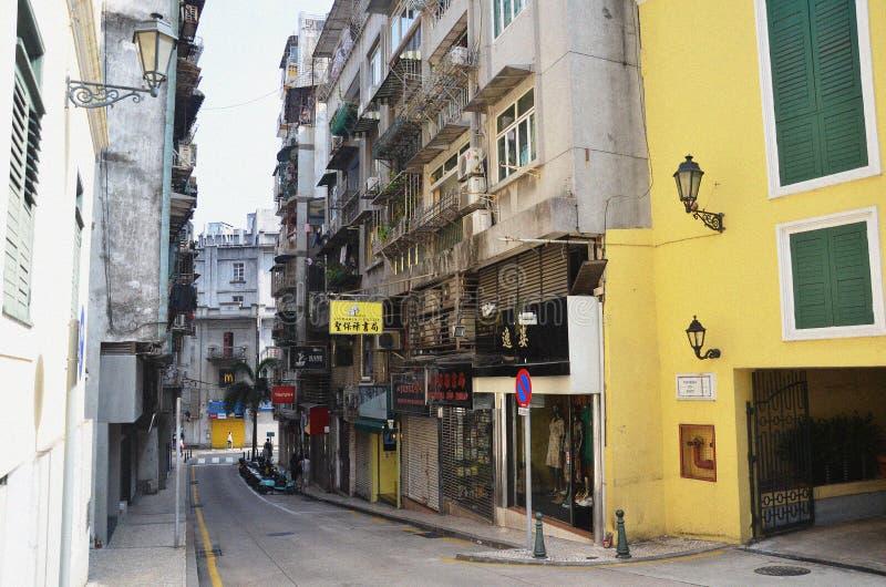 Ideia da rua do centro histórico de Macau imagens de stock royalty free