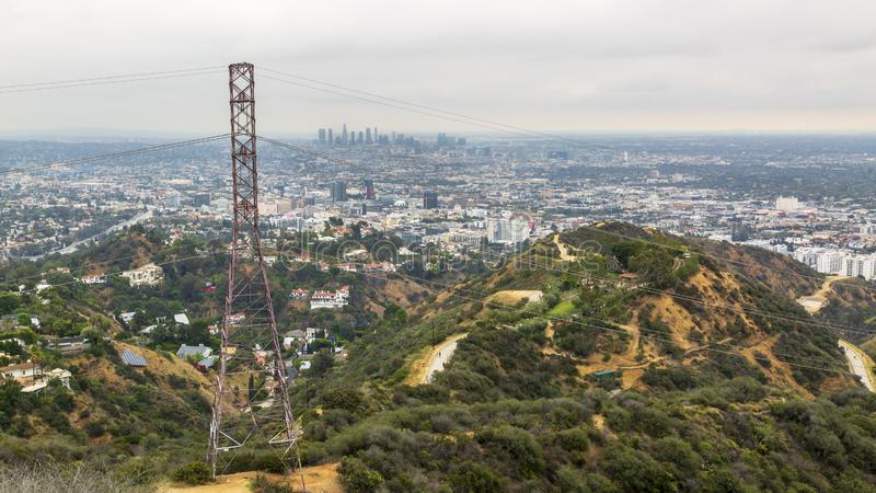 Ideia da skyline do centro de Griffith Park, Hollywood, Los Angeles, Califórnia, Estados Unidos da América, America do Norte fotografia de stock
