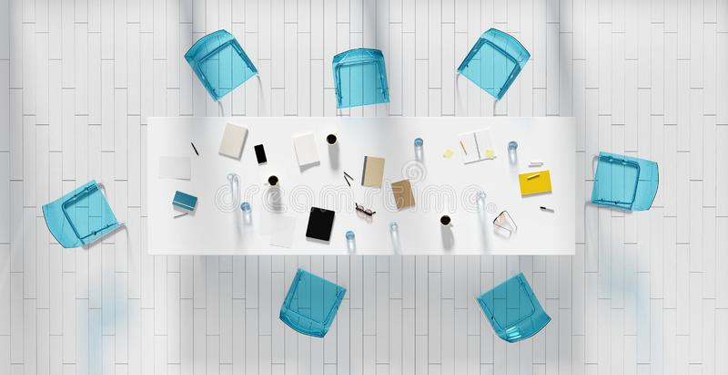 A ideia de ângulo alto da sala do escritório, 3d rende ilustração stock