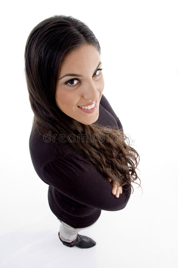 Ideia de ângulo elevado do modelo de sorriso foto de stock