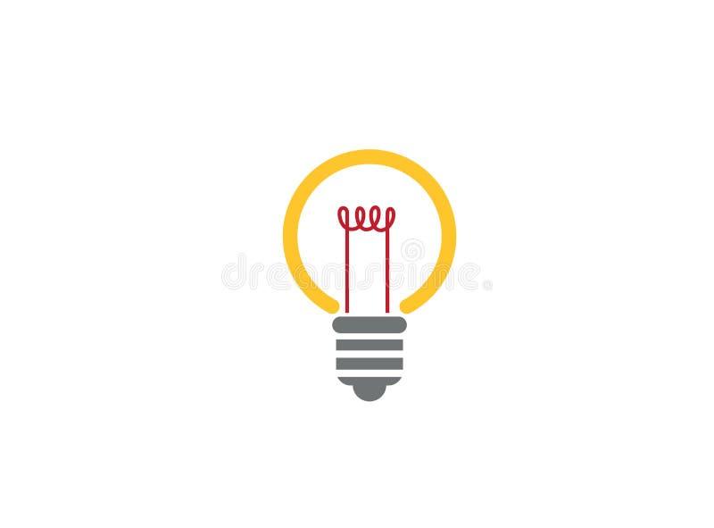 Ideia de brilho da luz da lâmpada para o projeto do logotipo ilustração stock