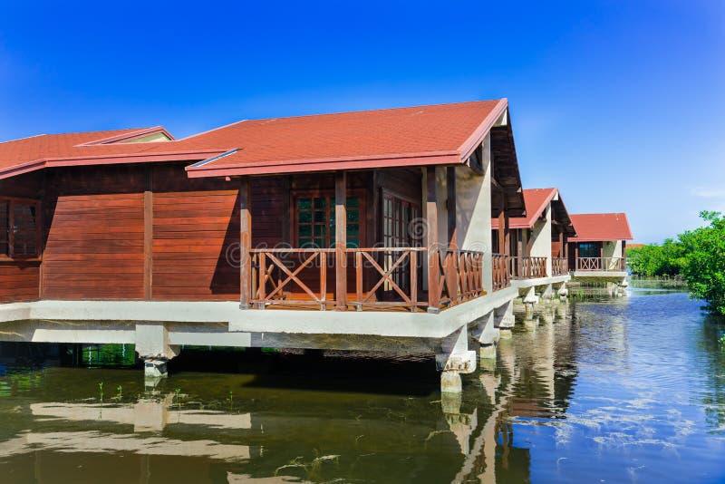 A ideia de convite de surpresa de terras do hotel com casa de campo abriga a posição na água do mar natural no jardim tropical fotografia de stock royalty free