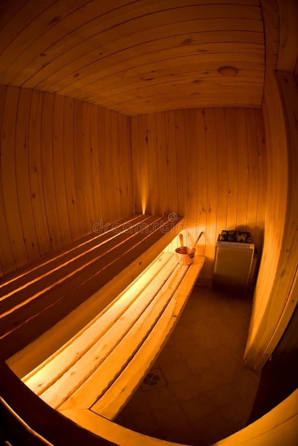 Ideia de Fisheye do interior da sauna imagens de stock