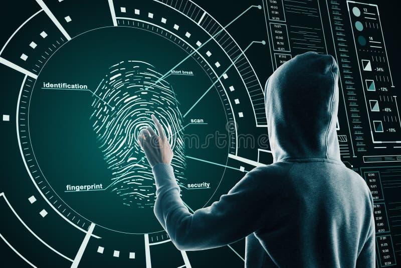 Ideia de hackers e segurança com hackers traseiros usando impressão digital na tela do ciberespaço foto de stock royalty free