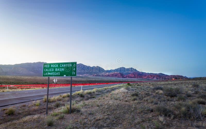 Ideia de luzes da fuga na área de recreação nacional da garganta vermelha da rocha imagens de stock