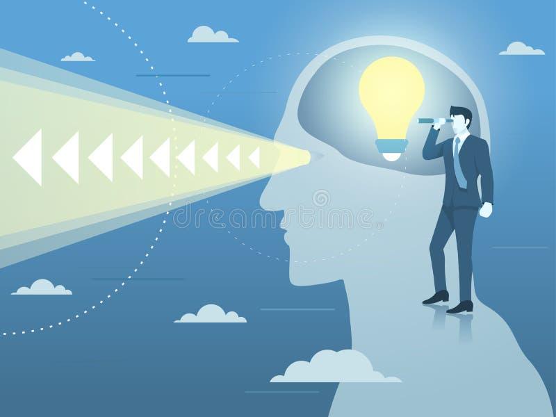 Ideia de With New Bright do homem de negócios e visão clara ilustração royalty free