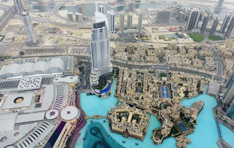 Ideia de olho de pássaro da cena urbana de Dubai imagens de stock royalty free
