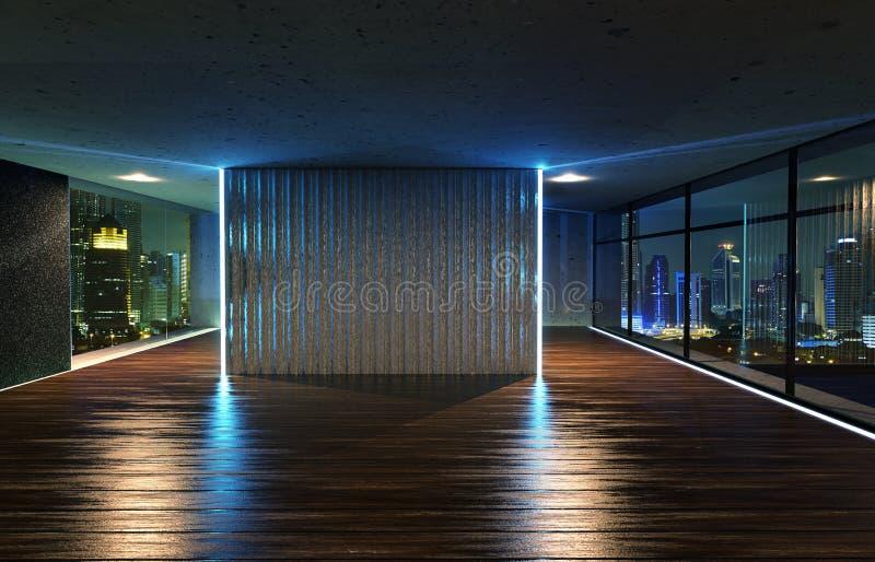 Ideia de perspectiva do interior de madeira vazio do teto do assoalho e do cimento com opinião da skyline da cidade ilustração stock