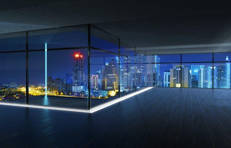 Ideia de perspectiva do interior de madeira vazio do teto do assoalho e do cimento com opinião da skyline da cidade ilustração do vetor