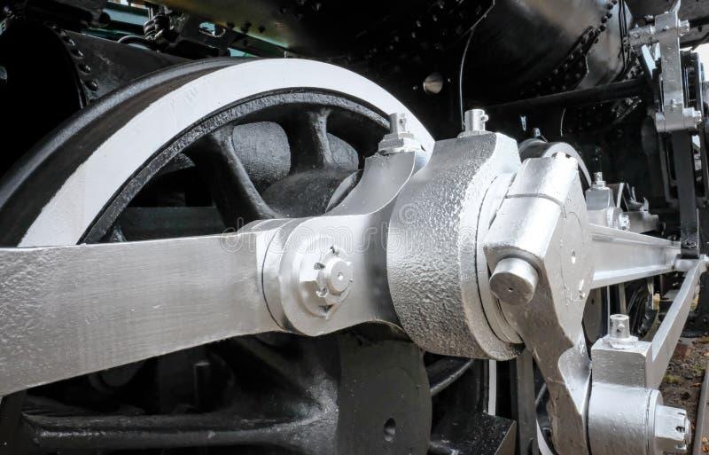 Ideia detalhada dos enlaces da roda e do pistão em uma locomotiva de vapor dos E.U. fotografia de stock royalty free
