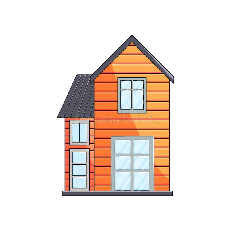 Ideia dianteira da arquitetura rural exterior da casa de madeira do eco no fundo vazio ilustração royalty free