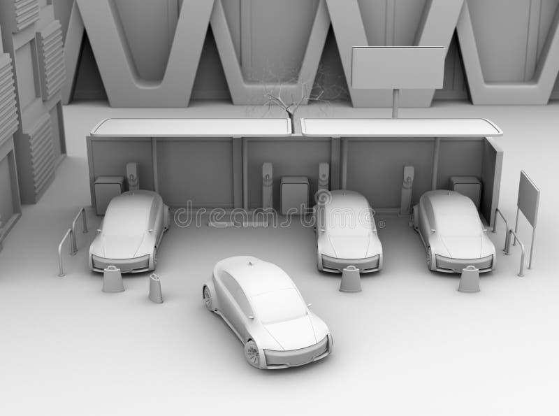 Ideia dianteira da rendição da proteção da argila de carros bondes no parque de estacionamento da partilha de carro somente ilustração do vetor