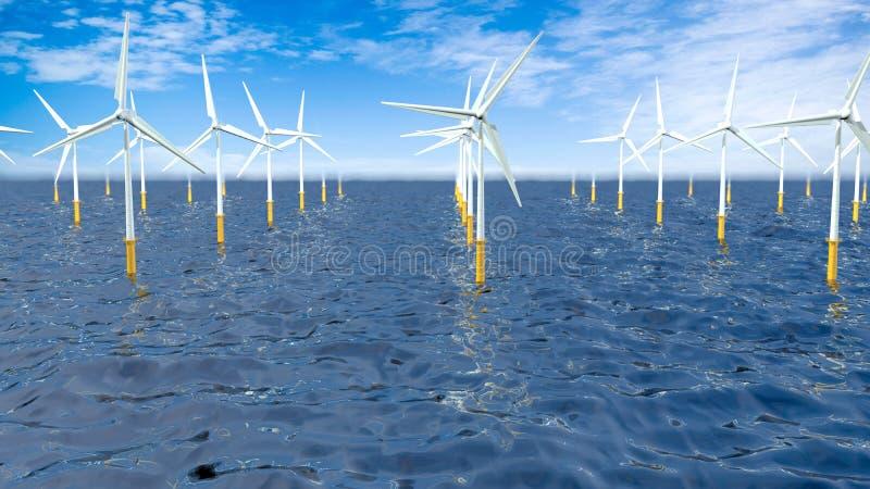 Ideia dianteira de um grupo de turbinas que formam uma explora??o agr?cola de vento no meio do oceano durante o dia com o c?u azu ilustração royalty free