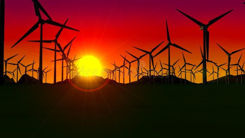 Ideia dianteira de um grupo de turbinas que formam uma exploração agrícola de vento no por do sol com o sol no fundo e no céu ver ilustração stock