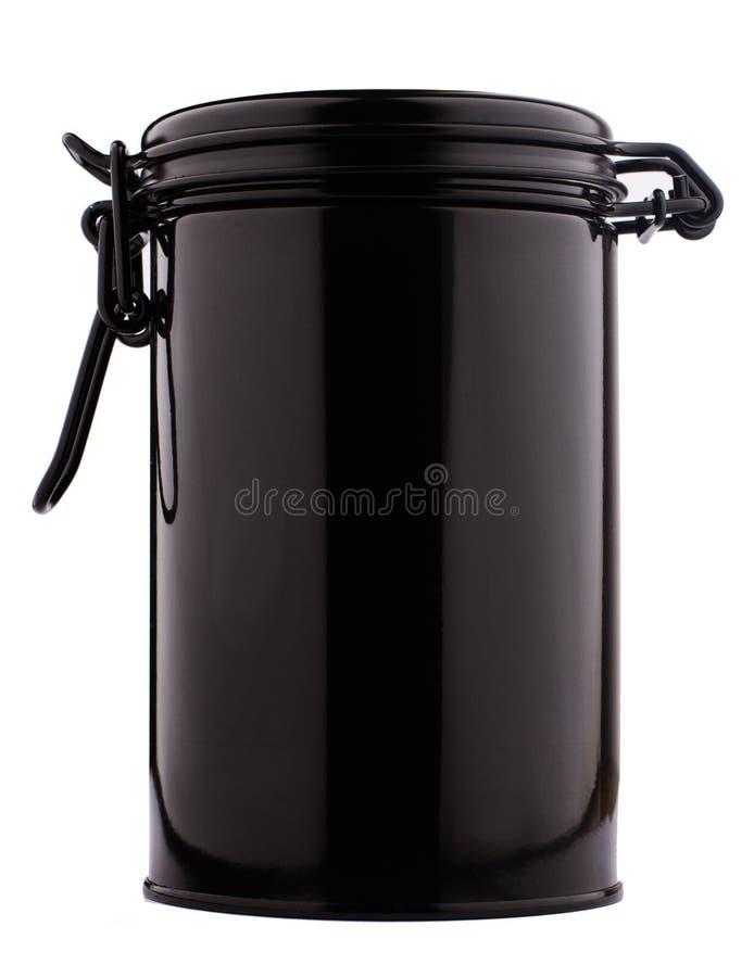 A ideia dianteira do formulário fino preto metálico do cilindro do recipiente da lata é fotos de stock royalty free