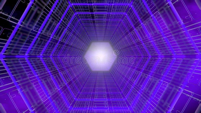 Ideia dianteira do fundo futurista de um túnel com estrutura sextavada da forma de roxo e de azul com luz branca no fundo ilustração stock